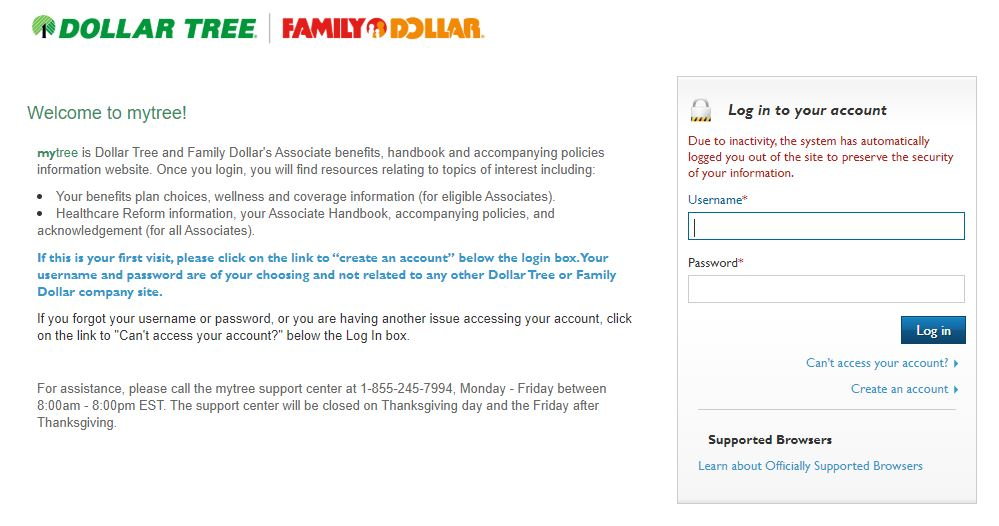 MyTree- Family Dollar Employee Benefits Login mytree.hrintouch.com